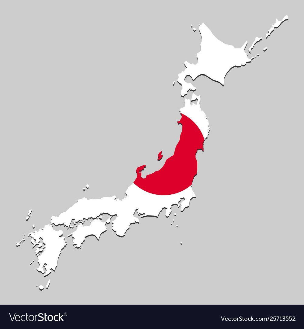 Map Of Japan With National Flag Flag Vector National Flag Japan Map