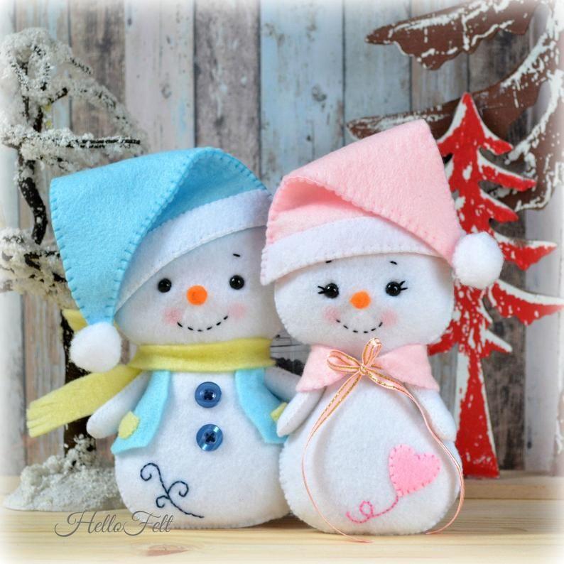 Pdf Pattern Snowman And Family Felt Doll Snowman Christmas Ornaments Sewing Pdf Pattern Hellofelt Deco Noel Feutrine Bonhomme De Neige Feutre Et Projets De Noel