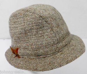 517743b6996 Hats of Ireland Castlebar Brown Wool Donegal Tweed Fedora Hat L Made in  Ireland
