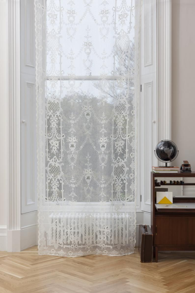 Romantic Vintage Shabby chic lace window  curtain sheer panel traditional Victorian French boudoir bedroom nursery cotton lace curtain