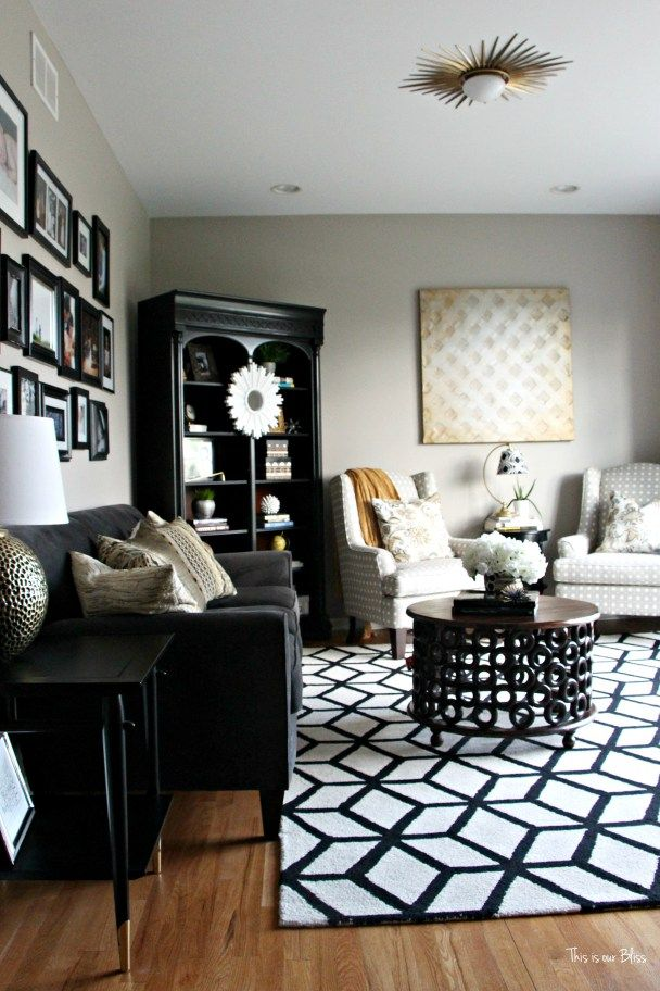 Where to buy bold black and white rugs home inspo - Black and white living room rug ...