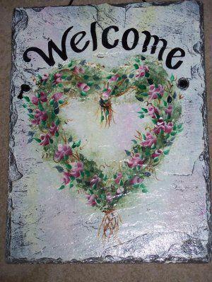 Personalized Custom Hand Painted Welcome Slate Sign Rosebud Heart