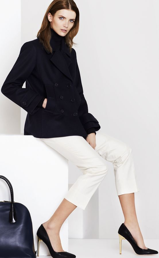 Look smart in navy and white! #Work