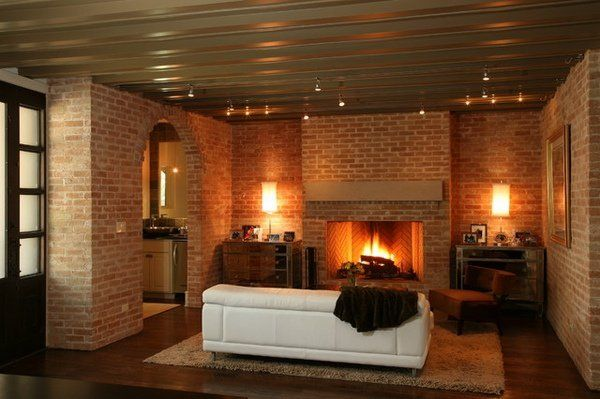 Contemporary Living Room Spectacular Brick Fireplace Leather Sofa Modern Farmhouse Living Room Decor Brick Fireplace Makeover Cozy Living Room Design