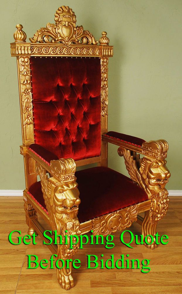 Carved Mahogany King Winged Lion Gothic Throne Chair Gold