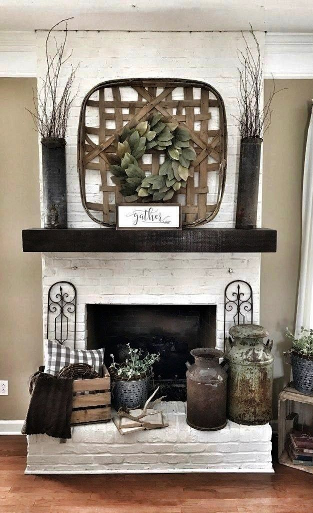 fireplace Tobacco basket over fireplace Farmhouse style li Painted white brick fireplace Tobacco basket over fireplace Farmhouse style living roomPainted white brick fire...