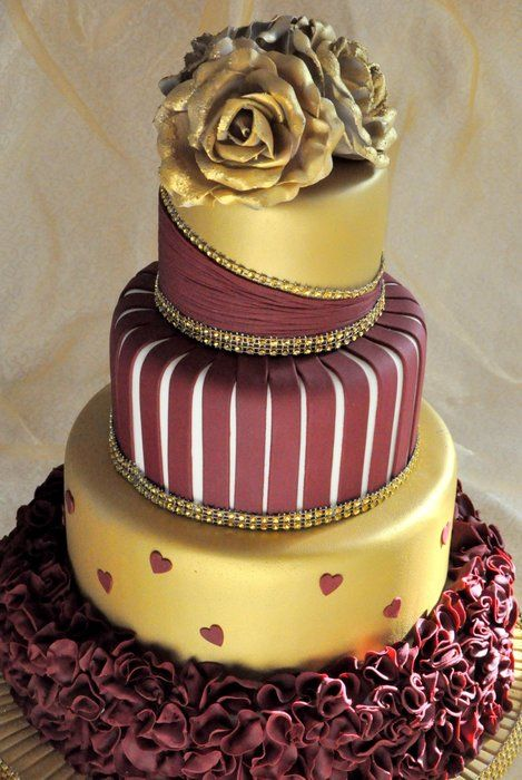 Gold and burgundy wedding cake - by welshcakes ...