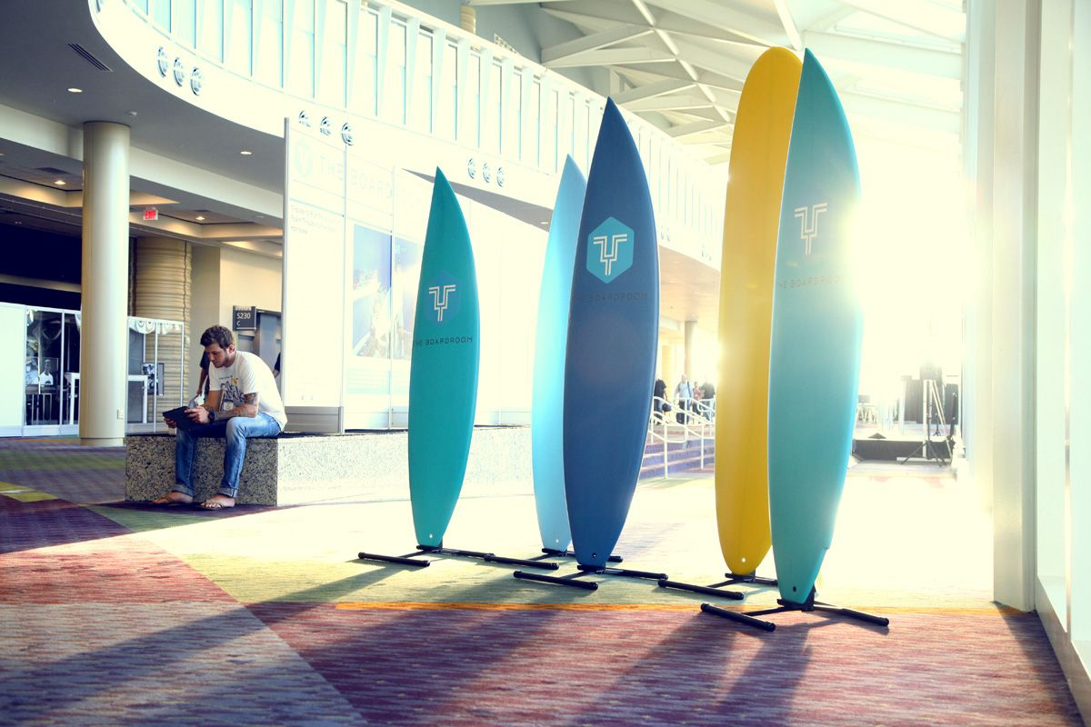 """The entrance to the """"Boardroom"""" at surfexpo Beach lifestyle"""
