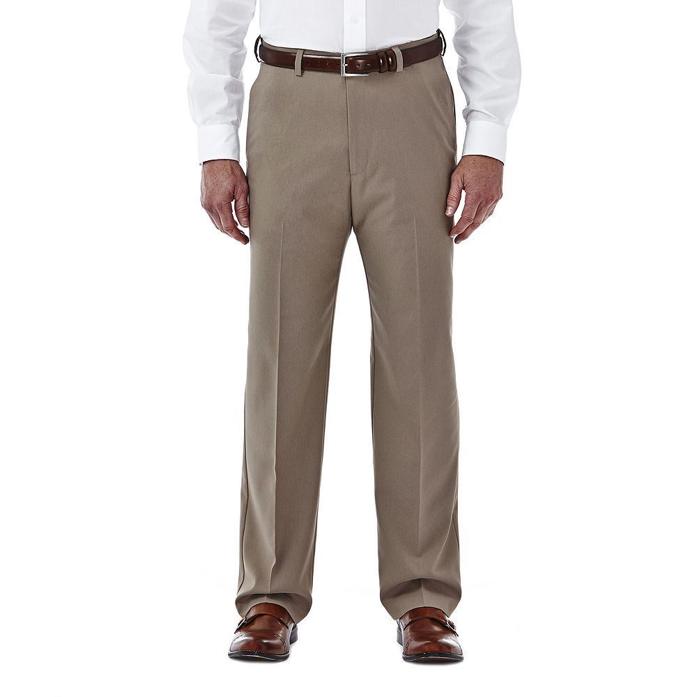 Men's Haggar Cool 18 Stretch Flat-Front Pants, Size: 36X29, Beige Oth