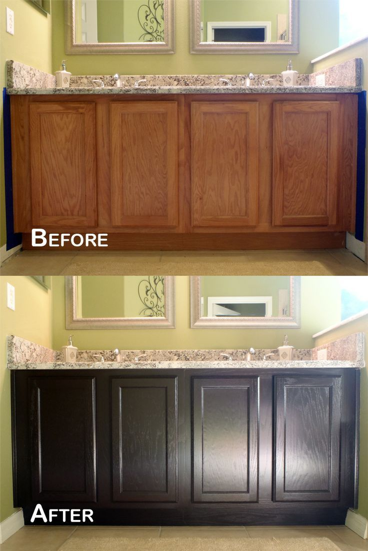 Furniture Recolor Light Oak To Dark Oak Bathroom Cabinet Using Java Gel Stain For More Wo Stained Kitchen Cabinets Staining Cabinets Kitchen Cabinets Makeover