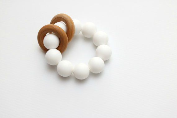 Rings beaded teething ring in bright white by Getting Sew Crafty.