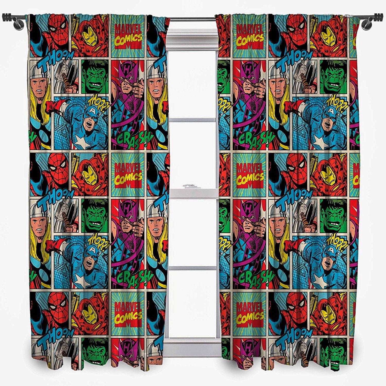 Marvel Comic Superhelden Vorhang | Gardine Superheldenzimmer ...