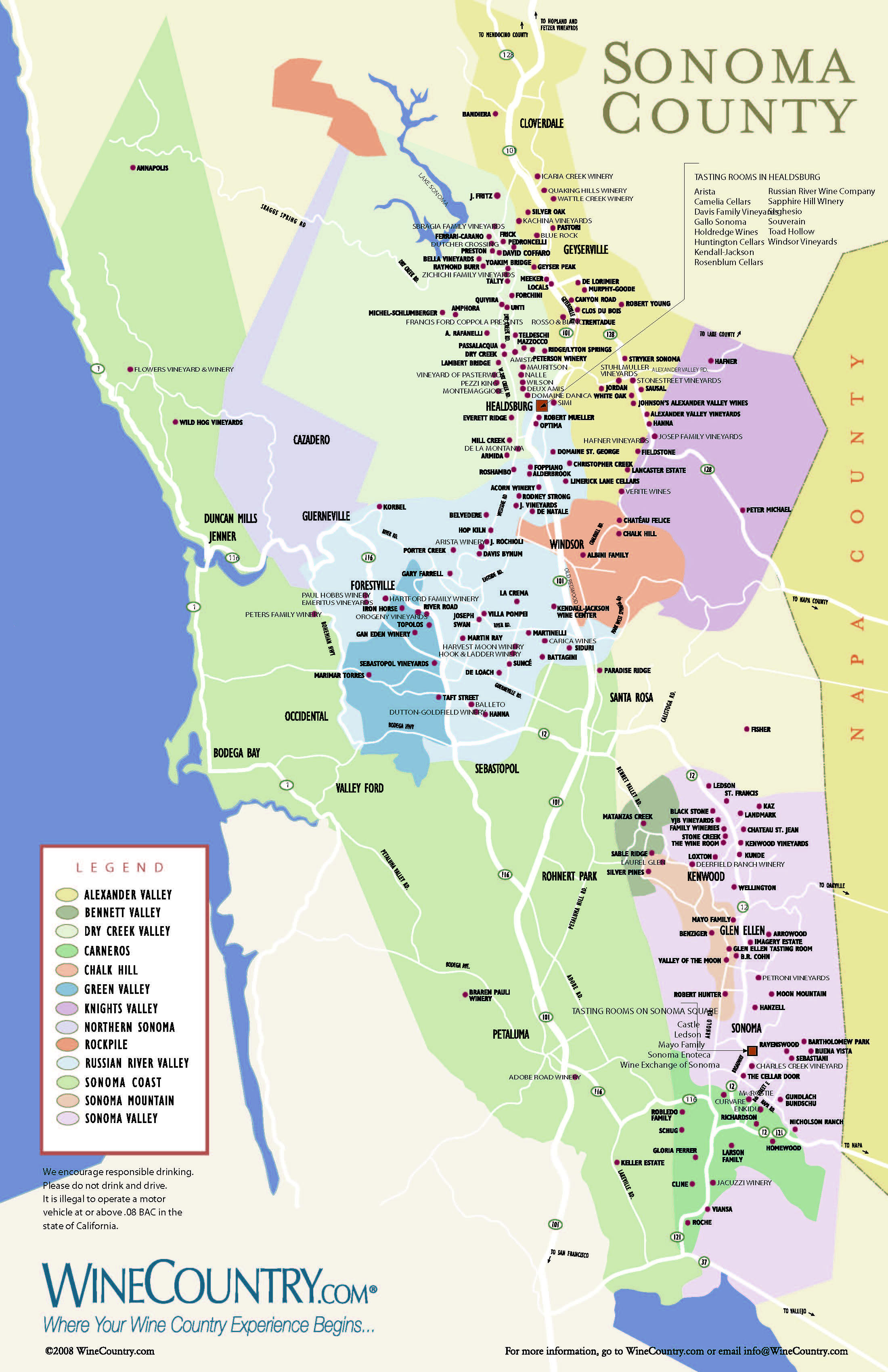 Sonoma Wine Map MY HOME