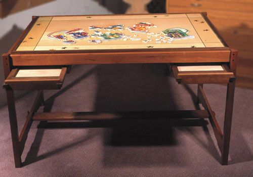 love this puzzle table with the pull out drawers Projects