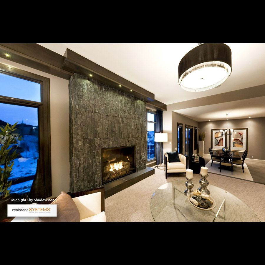 fireplace stone and lighting solution | fireplaces | Pinterest ...
