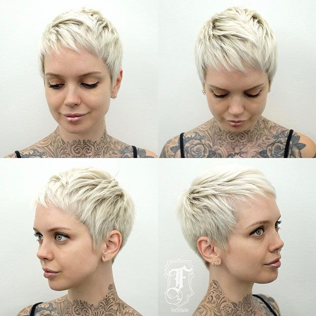 Huge Thanks To Fernthebarber For Making My Buzzcut To Pixie Grow Out Process Mostly Painless So I Short Hair Styles Short Blonde Pixie Short Hair Styles Pixie