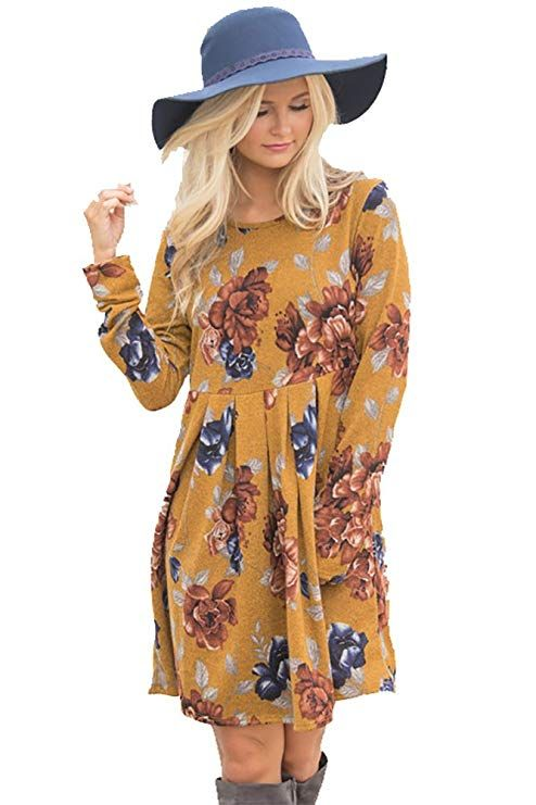 8141b33cb97e1 Vruan Floral Dresses for Women Long Sleeve A-line Pleated Casual Dresses  Swing Tunic T-Shirt Dresses for Women 6 Colour Size 8-18 Yellow  Amazon.co. uk  ...