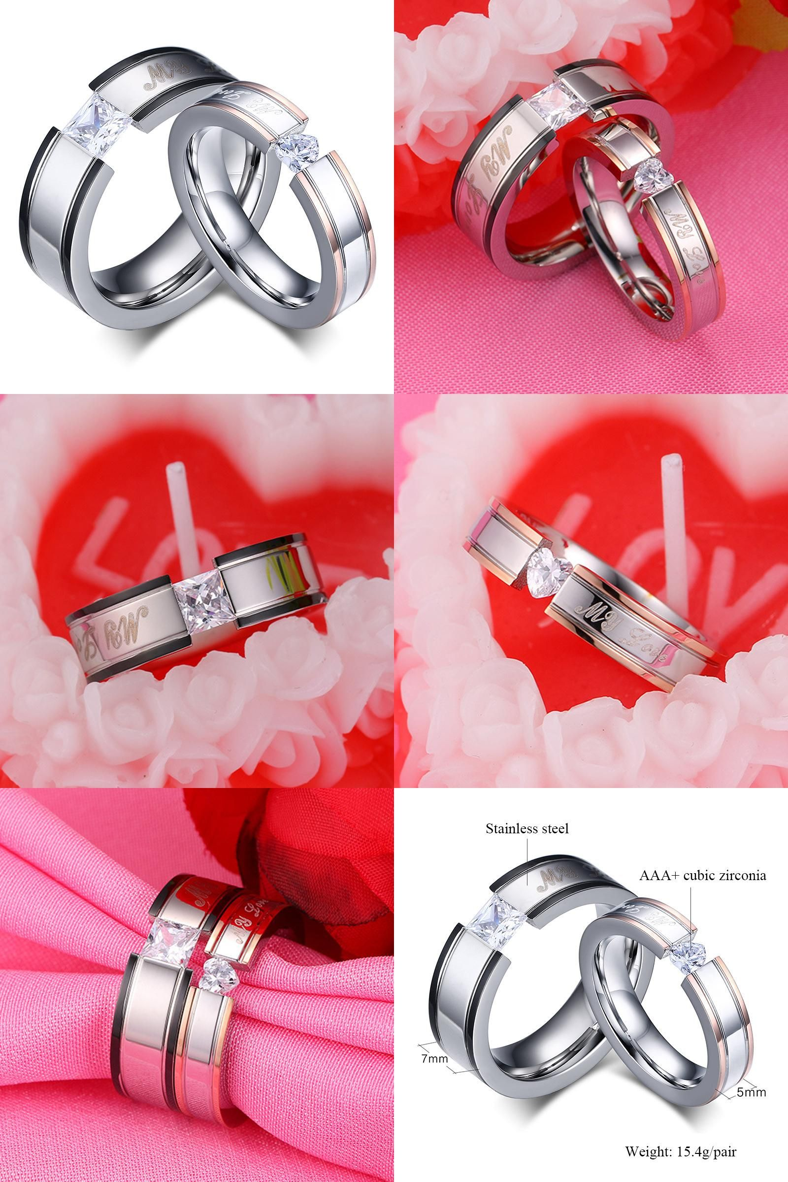 Visit to Buy] Wedding Ring for Women and Men Quality Stainless Steel ...