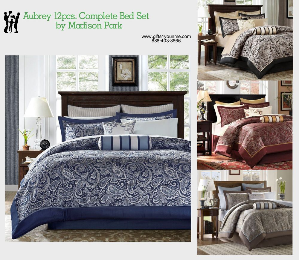 Details About Madison Park Aubrey 12 Piece Jacquard Complete Bed