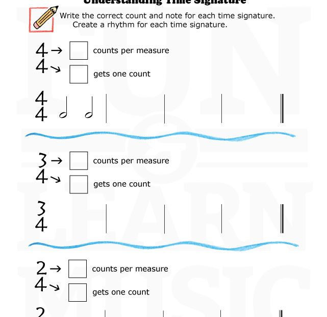 Basic Time Signature Worksheet Teach Learn Repeat