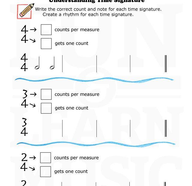 MusicWorksheetsUnderstandingTimeSignature004 – Time Signature Worksheet