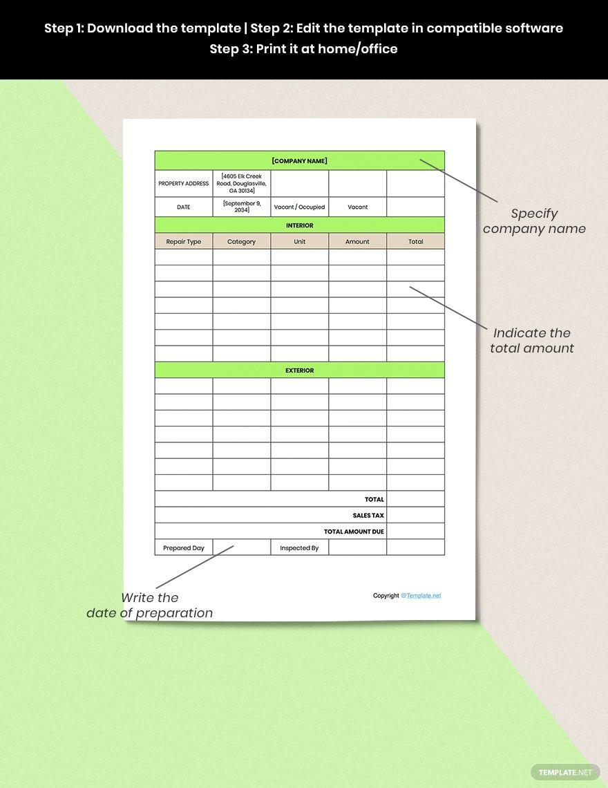 Free Editable Home Repair Estimate Template in 2020 ...