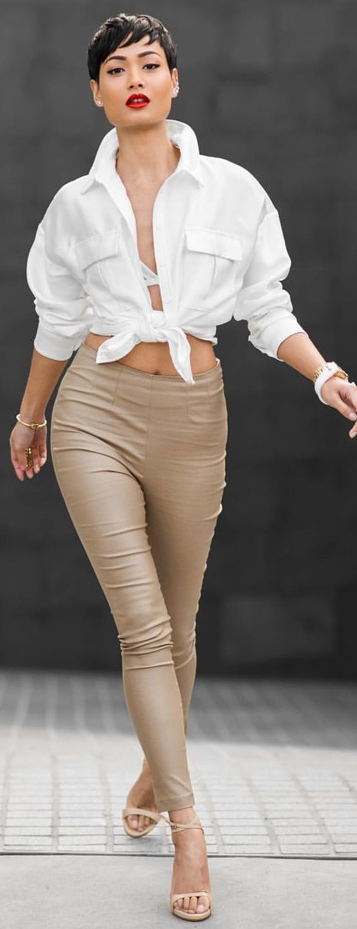 Camel And White Easy And Clean Outfit Idea by Micah Gianneli