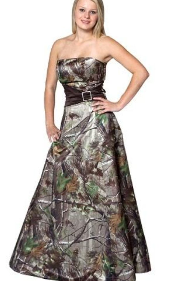 Pin By Krystal Graham On Bridesmaids Camo Bridesmaid Dresses Camo Prom Dresses Camo Wedding Dresses