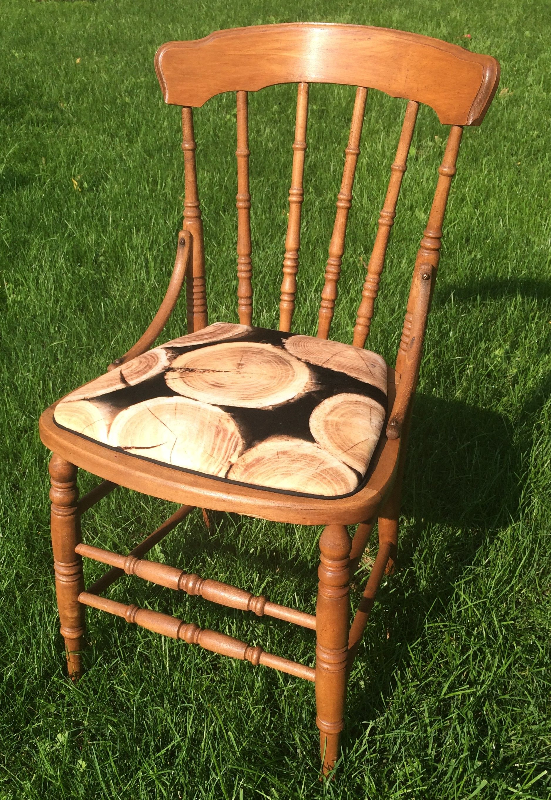 Farm houserefinished reupholstered chair upholstery