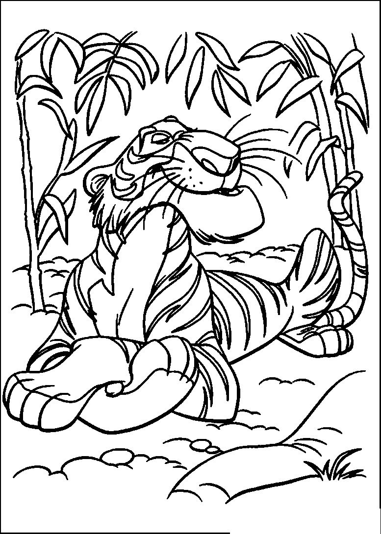Jungle Book Shere Khan Relaxed | Jungle Book Coloring Pages | Pinterest