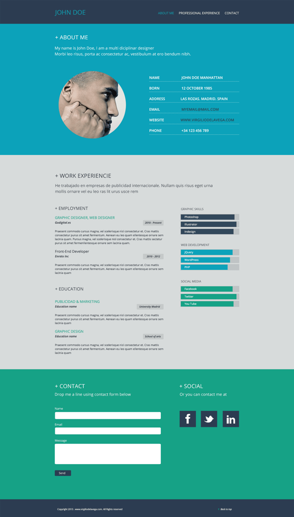 Resume Flat Web Design By Virgilio De La Vega Via Behance Web Design Web Designer Resume Creative Resume Template Free