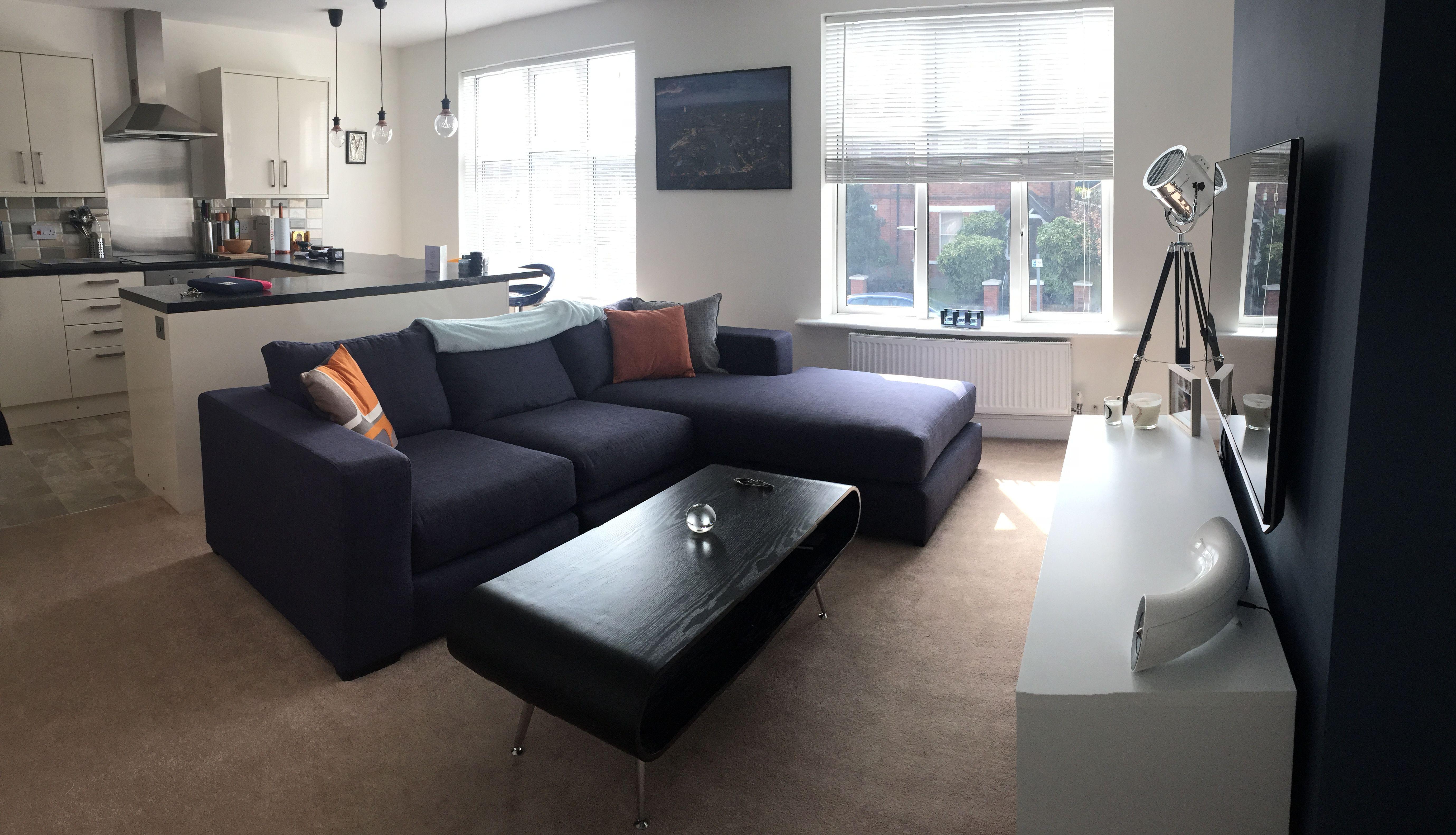 Living Room Flat Open Plan Corner Sofa Small Modern
