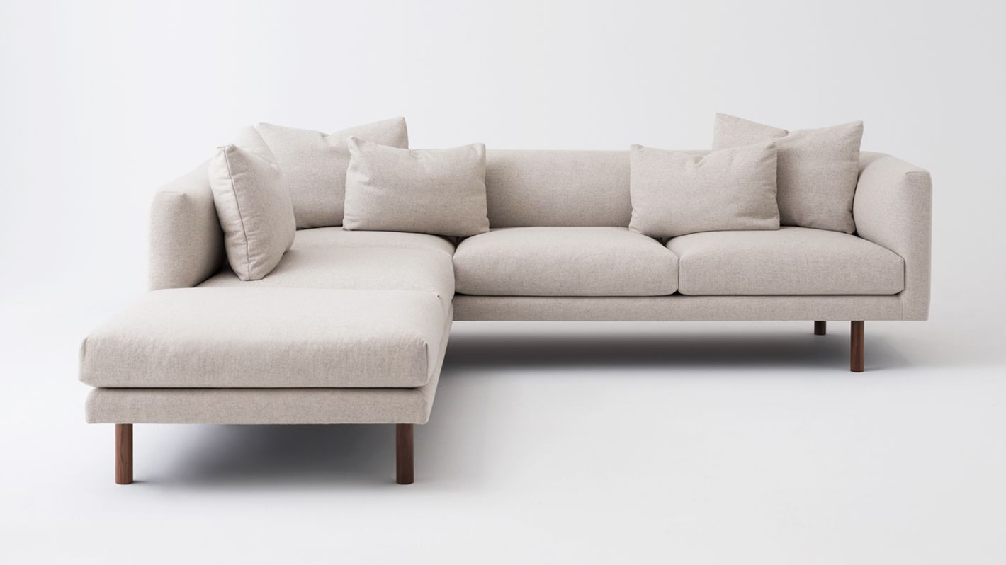Gentil Replay 2 Piece Sectional Sofa With Backless Chaise   Fabric