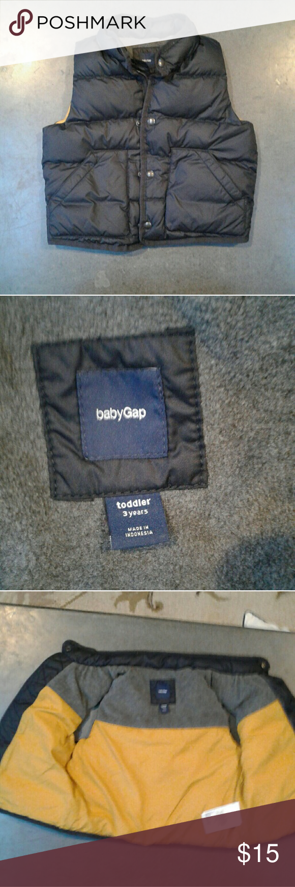 Gap puffer vest Boys 3T gap puffer vest. Used very rarely and now he refuses to wear it lol Navy blue outside. Yellow and half grey fleece inside. No wear of flaws of any kind GAP Jackets & Coats Vests