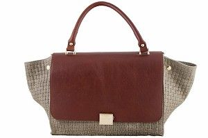 5% OFF EXTRA ON ANY HANDBAG!!  One Coupon Per Customer - Exclude Floto Handbags.  Etasico Rosealita Italian Leather Trapeze Woven Handbag Color Taupe Coganc #http://www.pinterest.com/BagMadness1/