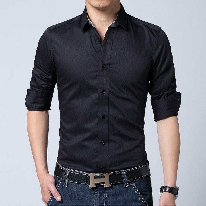 watch a7712 5a24f Slim-Fit Men's Solid Dress Shirt   Männer Mode Fotografie ...