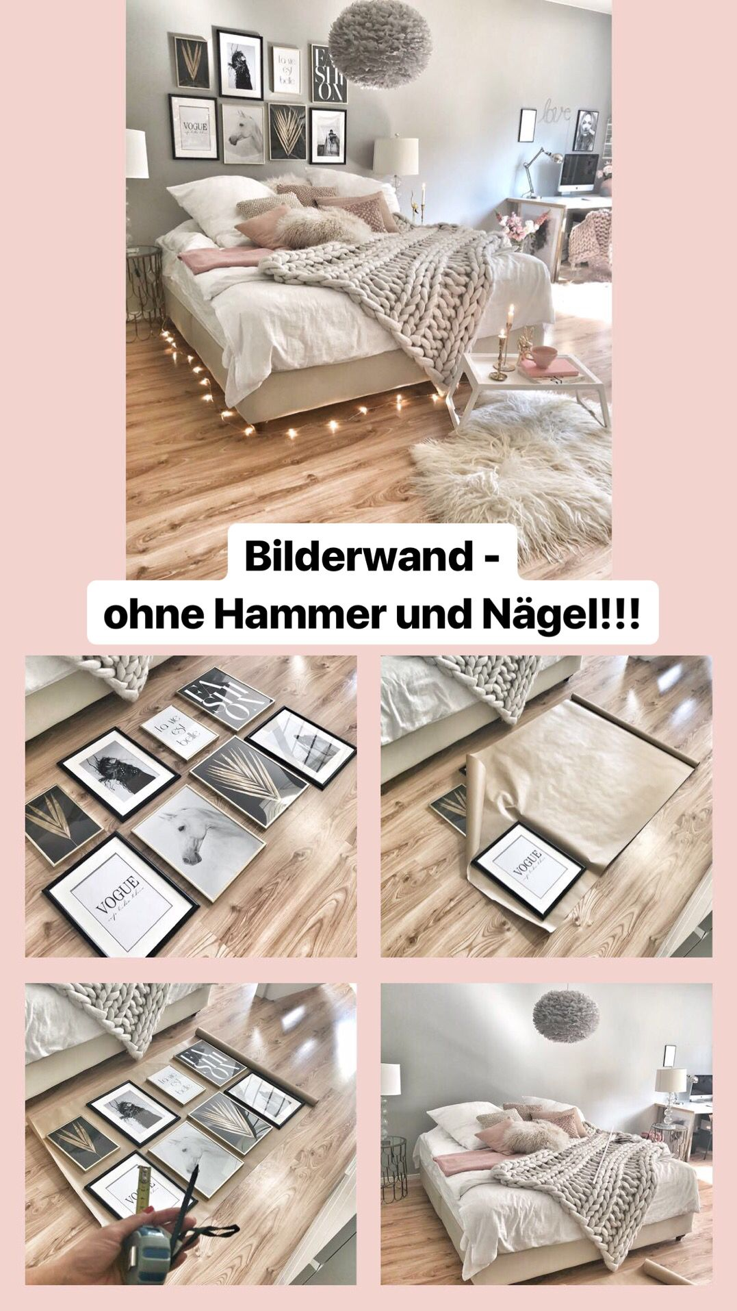 Bilderwand Ohne Nagel Und Hammer Easyinterieur Innenarchitektur Schlafzimmer Wandbilder Schlafzimmer Bilderwand