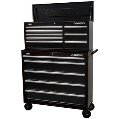 Husky 41 In 13 Drawer Tool Chest And Rolling Tool Cabinet Set Black Htc408bdlx12 Hmt405bdlx16 The Home Depot Tool Cabinet Tool Chest Tool Storage