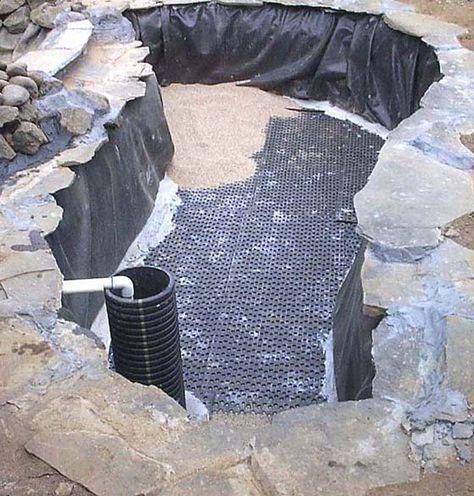 How to build a koi pond pond construction koi pond for Koi pond rock bottom