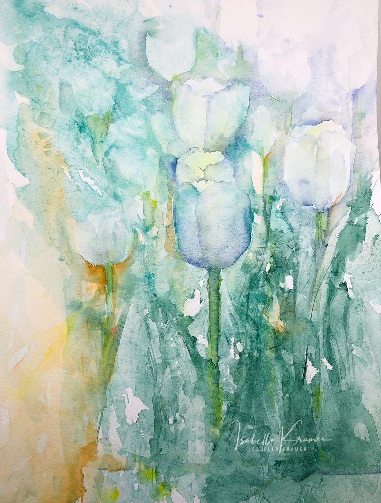 It S Just A Hunch Modern Watercolor Art Watercolor Tulips