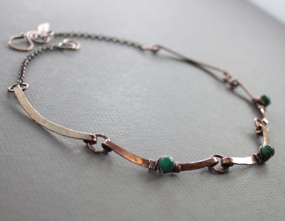 Scallop copper choker necklace with hand forged arch by IngoDesign