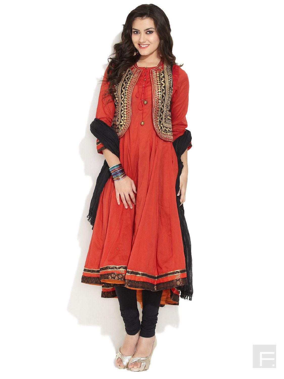 BIBA Biba Gota Patti Anarkali Kurta | Buy Red Regular Length | Shop ...