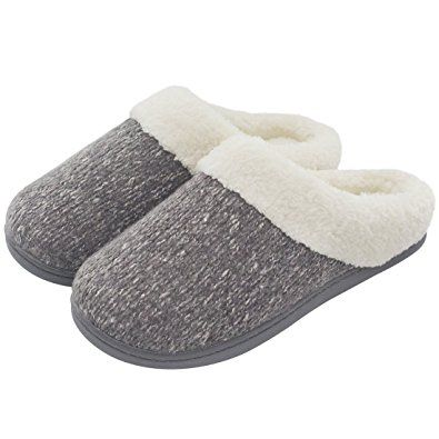 4974eb663e3c Women s Cozy Woolen Yarn Knitted Slippers Memory Foam Plush Lining Slip-on House  Shoes w  Anti-Slip Sole