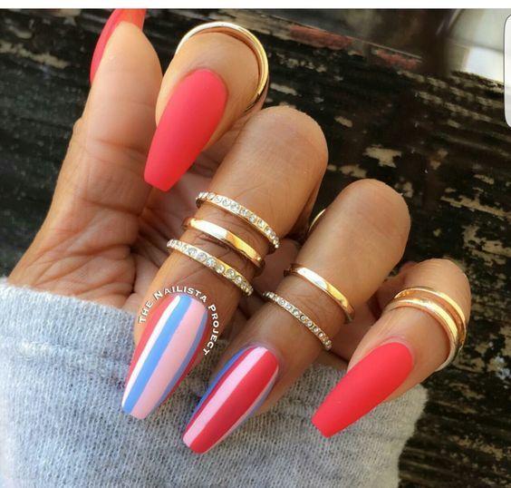 Medium/long coffin acrylic nails; Glitter Nails, Nägel ...