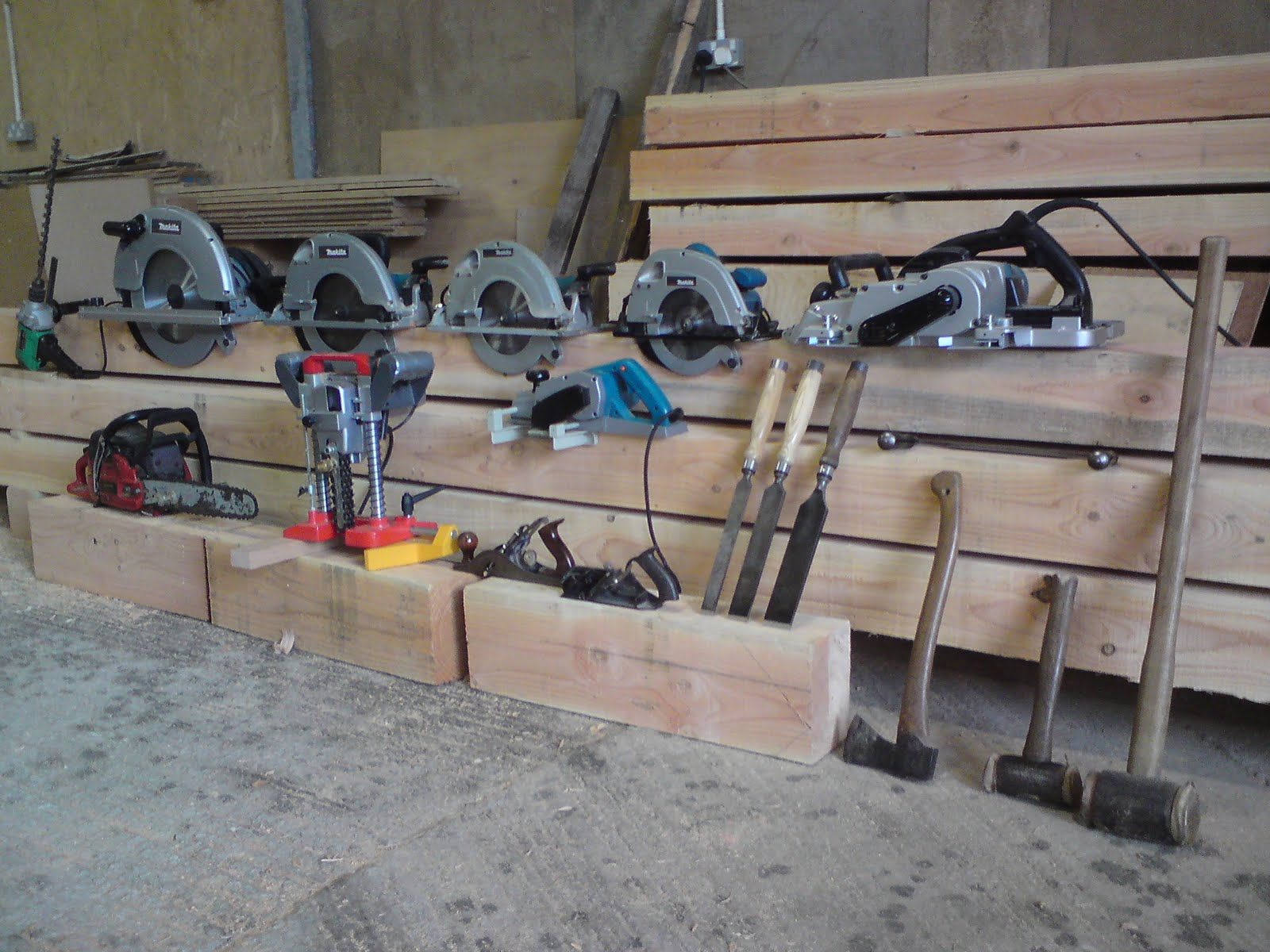 green oak timber framing was the relatively small number tools needed