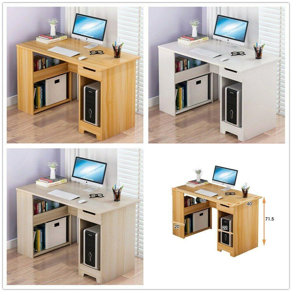 Table Dordinateur Bureau Informatique Laptop Travail Etageres 1 Tiroir Etudiant Informatique Idees De Informatique Informatique Mdf Furniture Desk Home