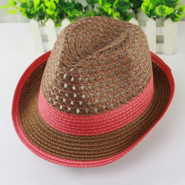 2d88d196 Wholesale Chic Openwork Color Splice Flanging Straw Hat For Women Only  $2.14 Drop Shipping | TrendsGal.com