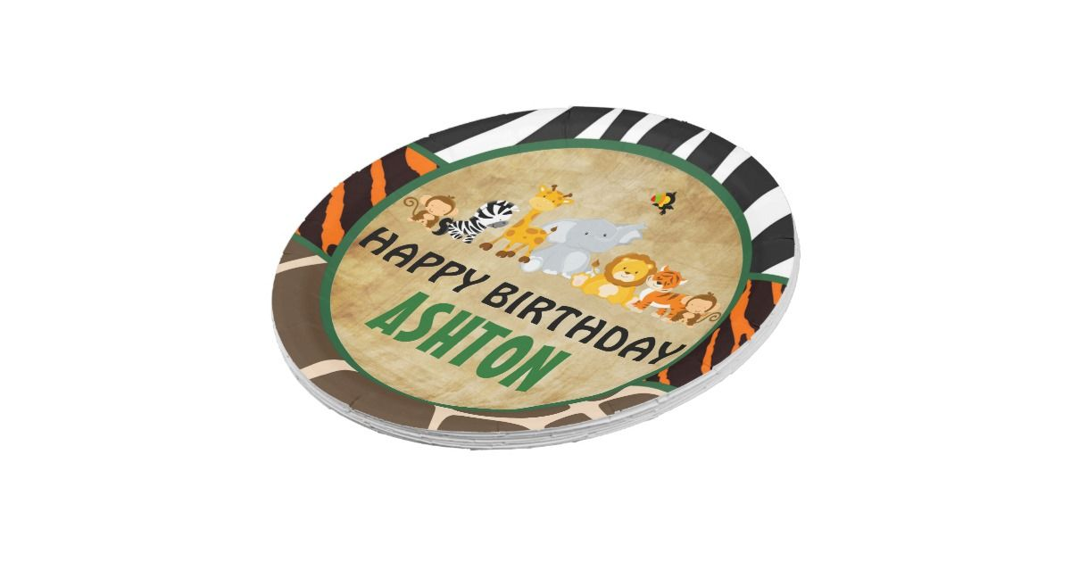 Jungle Safari Birthday Party Paper Plate | Zazzle  sc 1 st  Pinterest & Jungle Safari Birthday Party Paper Plate | Zazzle | Theou0027s First ...