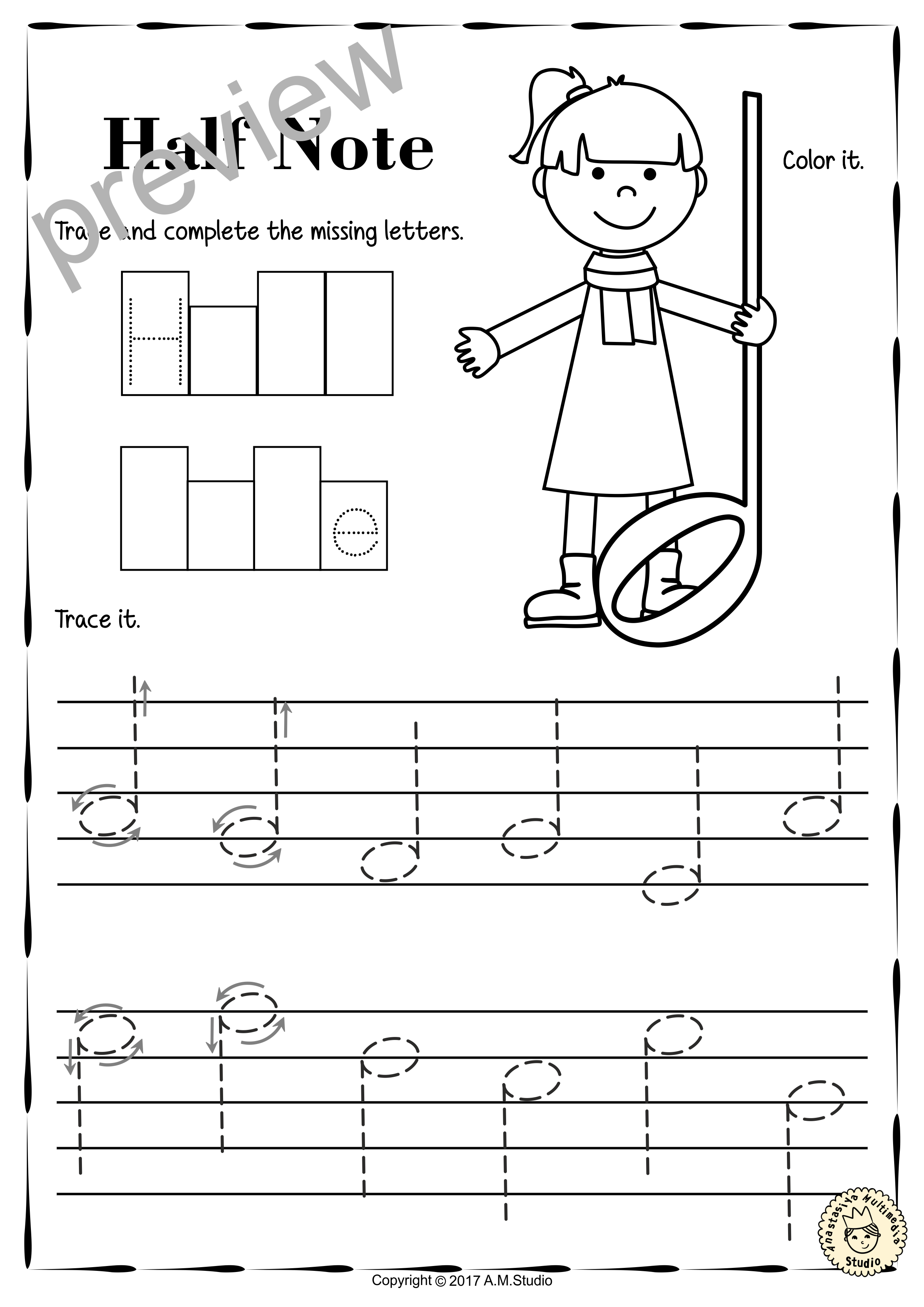 Tracing Music Notes Worksheets For Kids Music Worksheets Student
