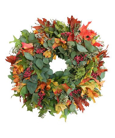 Look what I found on #zulily! 18'' Autumn Leaves & Berries Live Wreath #zulilyfinds